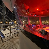 ship top deck and captain bridge at night with lights