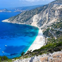 Myrtos beach on Kefalonia island Greece rock view