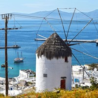 mykonos town coast with windmill